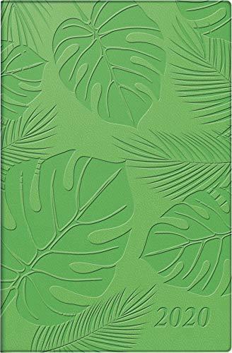 rido/idé 701105501 Taschenkalender partner/Industrie I (2 Seiten = 1 Woche, 72 x 112 mm, Kunstleder-Einband Trend (Floral) , Kalendarium 2020) grün