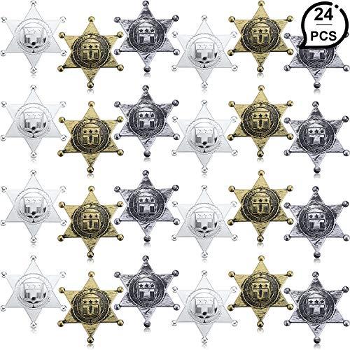 WILLBOND 24 Stücke Kunststoff Sheriff Abzeichen Cowboy Spielzeug Abzeichen 3 Farbe Westlichen Stellvertretender Sheriff Abzeichen für Halloween Party Gefallen Kostüm Requisiten