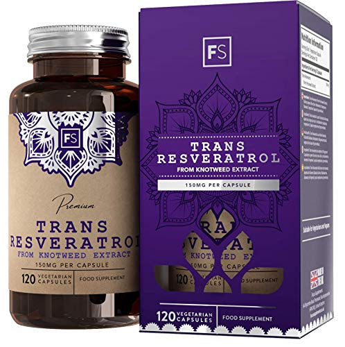 FS Trans Resveratrol 150mg (Per Capsule) | 120 Vegan Capsules | Antioxidant Superfood Tablets | High Strength Extract | Non GMO, Dairy and Gluten Free | Made in The UK in ISO Licensed Facilities
