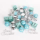 WildWave Christmas Ball Assorted Pendant Shatterproof Ball Ornament Set Seasonal Decorations with Gift Boxes Ideal for Xmas, Holiday and Party(32pcs,Turquoise)