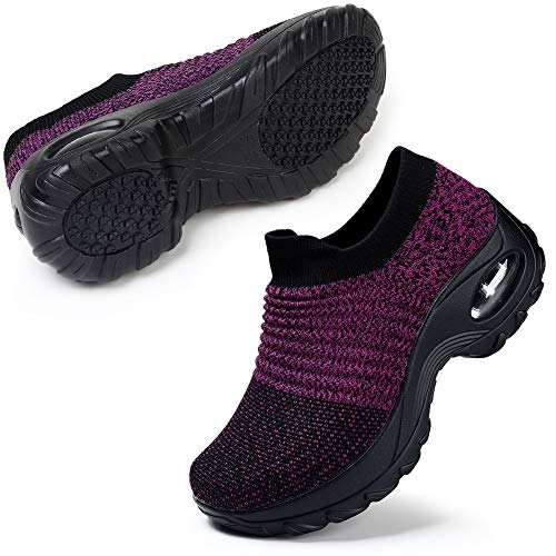 STQ Damen Slip On Outdoor Walking Schuhe Air Leichte Höhe Erhöhen Mesh Sneakers Turnschuhe Sportschuhe Freizeitschuhe Laufschuhe Bequem Sneakers(Schwarz Lila38)