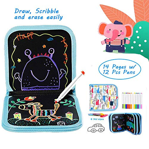 Womdee - Taccuino da Disegno cancellabile per Bambini, Double-Face, Riutilizzabile, con 12 pennarelli Colorati e 2 salviette umidificate, 21 x 21 cm, 14 Pagine, Interessante Libro per l'apprendimento