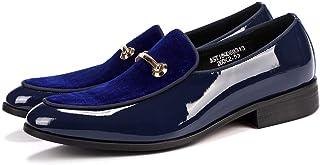 Men's Business Casual Patent Leather Oxfords Shoes Formal Shoes (Color : Blue, Size : 39)