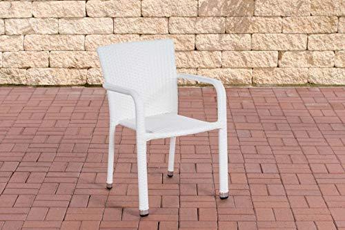 CLP Polyrattan-Gartenstuhl Leonie I Pflegeleichter Outdoor-Stapelstuhl I Wetterbeständiger Gartenstuhl I erhältlich, Farbe:weiß