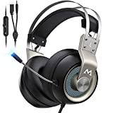 Mpow PS4 Headset Xbox One - EG3 Pro Gaming Headset Stereo Surround Sound with Noise Cancellation Mic & In-Line Control, Over-Ear Gaming Headphones with LED Light, Compatible with PC/Xbox/PS4