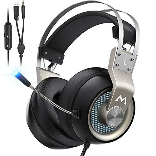 Mpow EG3 Pro Auriculares Gaming para PS4/PC/Xbox One/Switch/Mac, LED Auriculares para Juegos, Sonido Envolvente Virtual 7.1, 3.5mm USB Jack Cascos con micrófono cancelación de Ruido, Plata