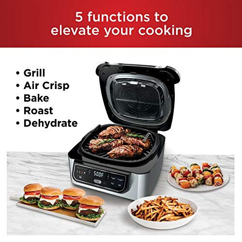 Ninja Foodi AG301 5-in-1 Indoor Electric Countertop Grill with 4-Quart Air Fryer, Roast, Bake, Dehydrate, and Cyclonic Grilling Technology