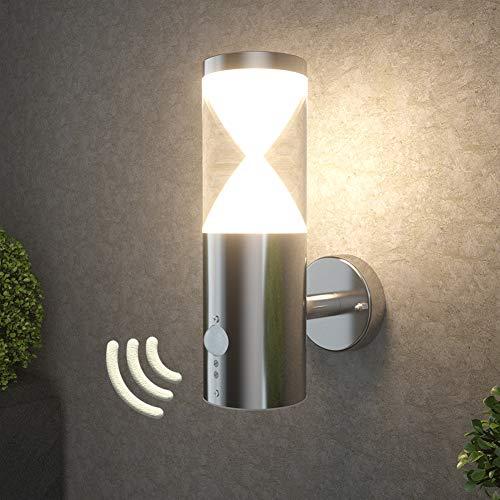 NBHANYUAN Lighting® LED Außenlampe mit Bewegungsmelder und Dämmerungsschalter Aussenwandleuchten Acrylic Silber Edelstahl 3000K Warmweiß Licht 500LM 5W IP44 (mit PIR Sensor) [Energieklasse A+]