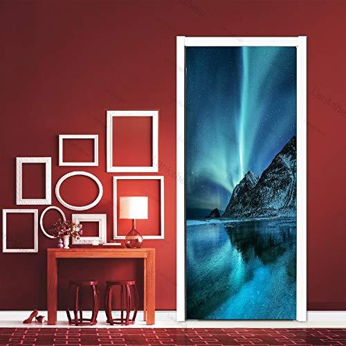 Luna Scenario Galaxy Adesivi per Porte autoadesivi Arte Spazio Pianeta Paesaggio Carta da Parati Fai da Te Decalcomanie Home Decor Poster murale A23 86x200cm