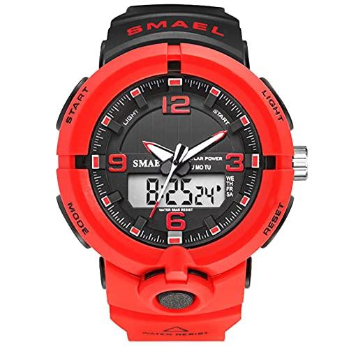 JTTM Reloj Deportivo De Energía Solar De Multifunción Dual Tiempo Pulsera Digital De Silicona Batería Integrada Impermeable De 50M para Actividad Deportes Exteriores para Hombre,Rojo