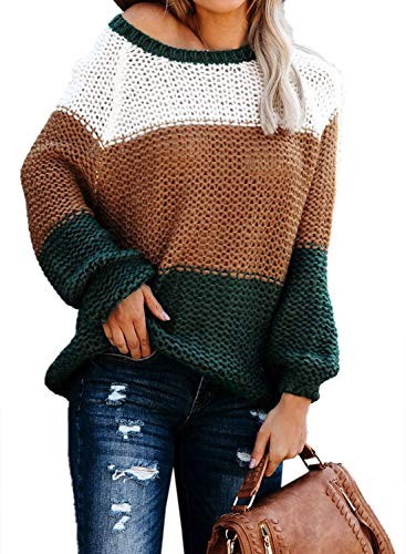 Asvivid Womens Contrast Colorblock Sweater O Round Neck Pullover Winter Warm Oversized Loose Ladies Thick Cotton Jumper S Green