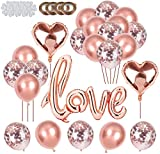 Xinmeng Ballon Love Or Rose Ballon Coeur Or Rose Ballon Aluminium Coeur Rose Gold Ballon Confettis Or Rose 33pcs Ballons Or Rose Set pour Mariage, Saint Valentin,Anniversaire de Mariage.(Or Rose)