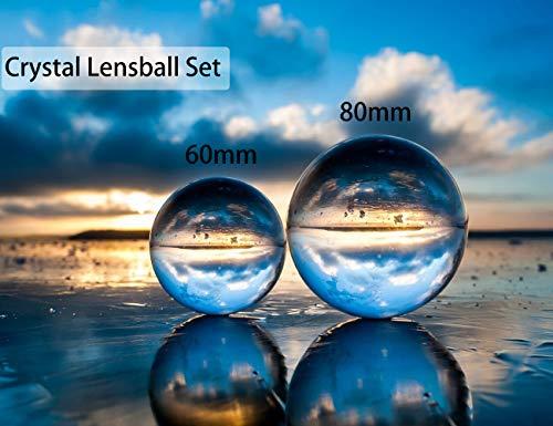 Fotokugel mit Tasche, K9 Kristall-Sonnenfänger, Glaskugel mit Mikrofaser-Beutel, Dekorations- und Fotografie-Zubehör, Kristall, 80+60mm with pouch