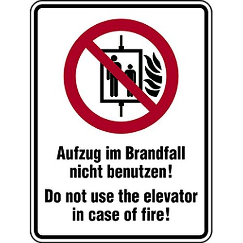 LEMAX® Aufkleber Symbol/Text deutsch/englisch | Aufzug im Brandfall nicht benutzen! | Folie selbstklebend 100 x 150 mm, wetterfest