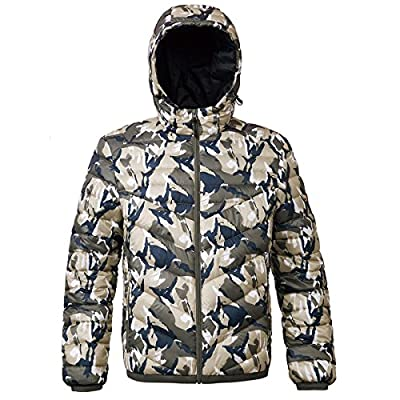 Rokka&Rolla Men's Lightweight Water-Resistant Hooded Puffer Jacket Coat from