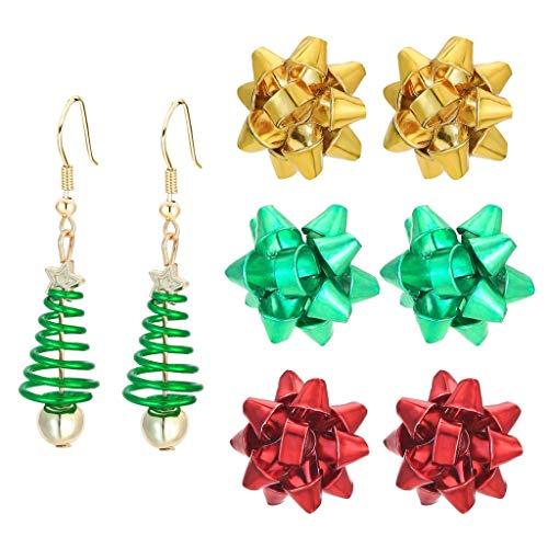 XYSQWZ Pendientes de Navidad, Pendientes de botón de Navidad Set X-Mas Bulb Jingle Bells Candelabro Pendientes de Gota Adorno Festivo de Vacaciones Joyas Regalo Mujeres