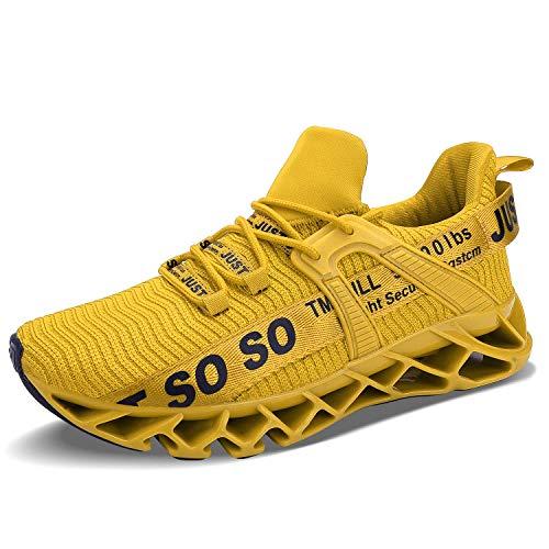 UMYOGO Men's Running Shoes Cushioning Energy Rebound Athletic Walking Sport Trainer Gym Tennis Sneakers Yellow