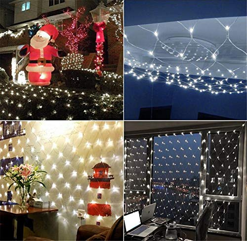 He-shop Fée Net Light LED Étanche Warewhite/White / blue3 * 3m Jour de Noël Accueil Jardin Rue Lumière Rideaux Restaurant Pelouse Décoration