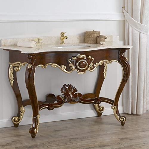 Simone Guarracino Mueble de baño Luigi Filippo Estilo Barroco Inglese Color Nogal Detalles Hoja Oro mármol Crema