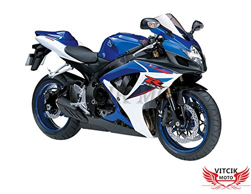 VITCIK Autocollants pour carénages de motos de course GSX-R750 GSX-R600 K6 2006 2007 GSXR 600 750 K6 06 07 (Bleu & Rouge)