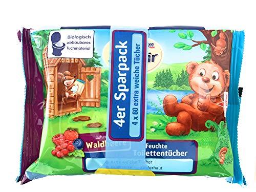 SauBär Feuchte Toilettentücher Waldbeere, 4 x 60 Stück, 240 St