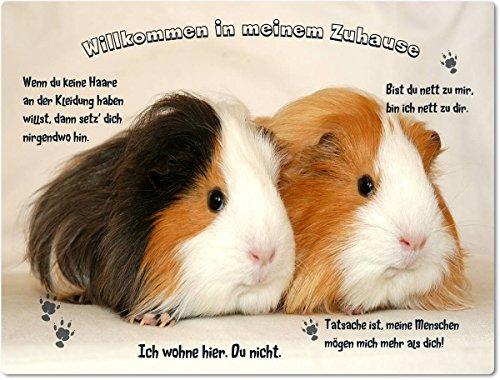 Merchandise for Fans Blechschild/Warnschild/Türschild - Aluminium - 30x20cm - - Willkommen in Meinem Zuhause - Motiv: Meerschweinchen Zwei Tiere nebeneinander - 04