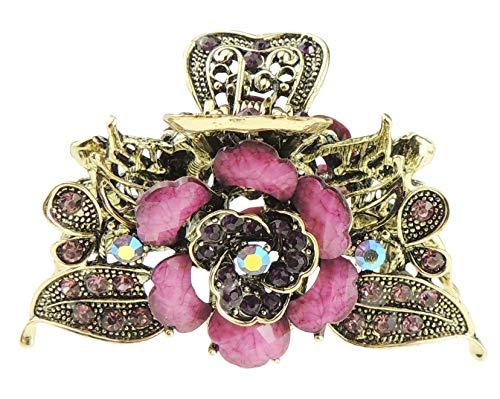 Glamour Girlz - Pinza per capelli vintage da donna, in metallo spesso, 8 cm, colore: rosa (viola)
