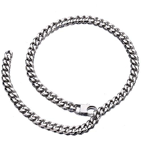Jxlepe Womens Mens Cuban Link Chain RapperXxxt. Style 10mm Adjustable Choker Leash Hip Hop Shin Light Slim Miami Stainless Steel Curb Necklace (20)