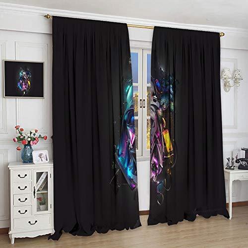 Cortinas transparentes Star Wars The Digital Six Film Collection para dormitorio infantil niñas dormitorio dormitorio (55 x 63 cm)