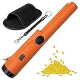 Gobesty Pinpointer Detector de Metales, IP66 Impermeabile Pinpointer Accesorios 360° Scan Detector Metales con Cable Espiral, Funda para Cinturón, Naranja