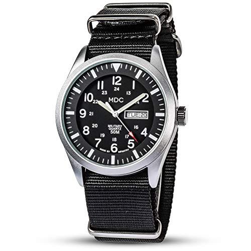 Herren Armbanduhr Militär Uhr Leuchtende Outdoor Uhren Männer Herrenuhr Schwarz Arbeitsuhr Wasserdicht Taktische Männeruhr mit Datum und Wochentag Natoband by MDC