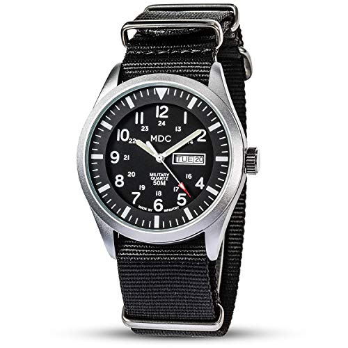 Military Watches for Men Tactical Wrist Watch Waterproof Outdoor Sport Field Black Analog Mens Watch Army Casual Work Wristwatch NATO Band by MDC