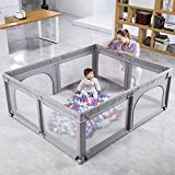 Baby Playpen, Extra Large Playpen for Babies with Gate, Safety Baby Play Yards Sturdy Baby Fence Play Area for The House, Anti-Fall Play Pens for Babys Toddlers(Ocean Balls Not Included)