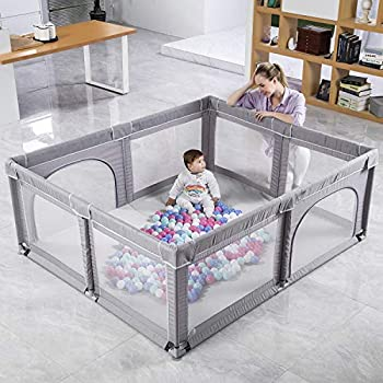 Baby Playpen Extra Large Playpen for Babies with Gate Safety Baby Play Yards Sturdy Baby Fence Play Area for The House Anti-Fall Play Pens for Babys Toddlers Ocean Balls Not Included