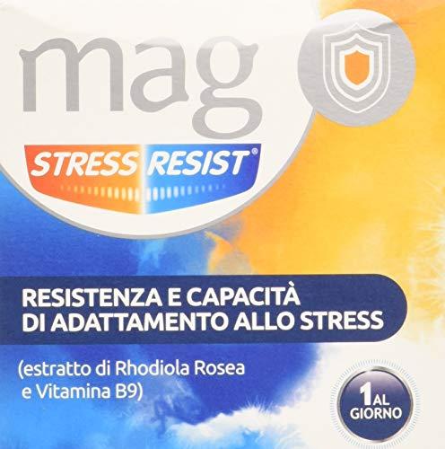 Mag Stress Resist Integratore Alimentare contro Stress, Stanchezza Mentale e Nervosismo a Base di Rhodiola Rosea, Magnesio, Vitamina B9 e B6, 30 Bustine Monodose
