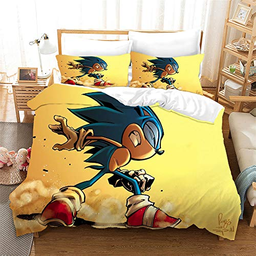 AZJMPKS Sonic Animation - Juego de ropa de cama infantil (microfibra, impresión digital 3D, 135 x 200 cm (A12,155 x 220 cm + 75 x 50 cm)