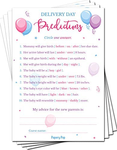 Gender Reveal Games Delivery Day Predictions and Advice Cards Pack of 50 Baby Shower Games for product image