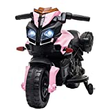 VALUE BOX 6V Kids Ride On Motorcycle, Electric Toddler Motorbike Battery Powered Bicycle Toy W/Training Wheels for Children 3-7 Years, Include Music, LED Headlight, Horn, Pink