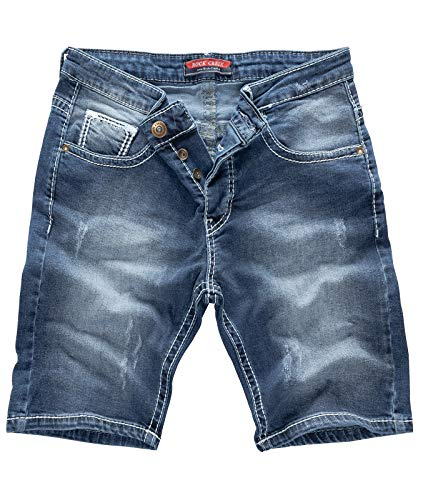 Rock Creek Herren Shorts Jeansshorts Denim Stretch Sommer Shorts Regular Slim [RC-2134 - Blue White - W40]