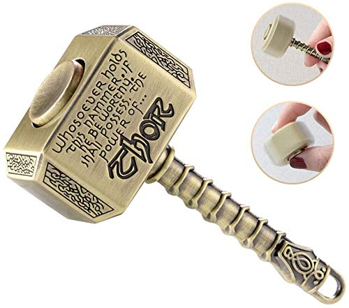 Thor Hammer Fidget Ring Figit Toy Chain Party Favors Fidget Finger Hand Spinner Metal Gadget Desk Toys Spinning Top Focus Spiral Twister Fingertip Gyro Stress Relief ADD ADHD EDC Anti Anxiety Gift