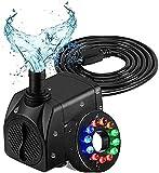 Pompe à eau submersible 16W pompe de fontaine avec 12 couleurs LED lumière silencieuse Fontaine d'aquarium poisson poisson poisson pompe hydroponique pour oiseau baignoire patio piscine et jardin de j