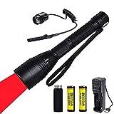 Linterna de luz roja, caza táctica Linterna de enfoque Foco de caza de coyote ajustable con interruptor de presión remoto Baterías recargables y tubo de extensión