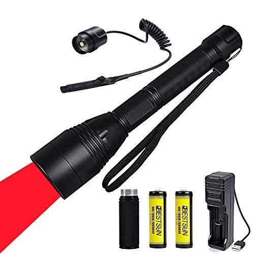 Rotlicht-LED-Taschenlampe, taktische Jagd-Taschenlampe-Taschenlampen Fokus justierbares Coyote-Schwein-Jagdlicht mit Ferndruckschalter wiederaufladbare Batterien und Verlängerungsrohr