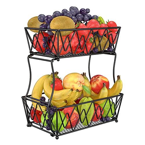 eeFul corbeille fruit panier legumes rangement- noir en métal avec décoration fruit basket 2 tier panier fruit de comptoir-corbeille à fruits à fruits et légumes frais Stable et ferme designde table