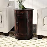 Monica Drum End Table with Storage, Drawer Storage, Overall: 26'' H x 17.75'' W x 17.75'' D