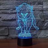 3D Lobo ilusión Optica Lámpara Luz Nocturna 7 Colores Cambiantes Touch USB de Suministro de...