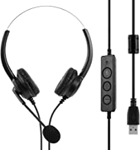 USB Computer Headset with Microphone Noise Cancelling, 360 Degree Rotation Lightweight PC Wired Headphones for PC, SoftPho...