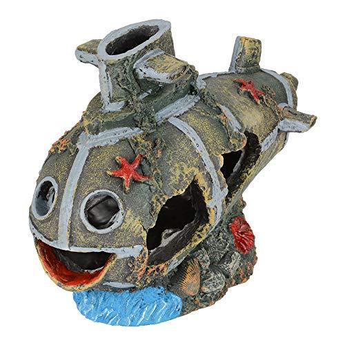 PETLOFT Aquarium Shipwreck Decorations Fish Tank Ornament, Resin Sunken Ship Aquarium Ornament Aquatic Decoration Aquarium Décor Accessory for Fish Tank Aquarium