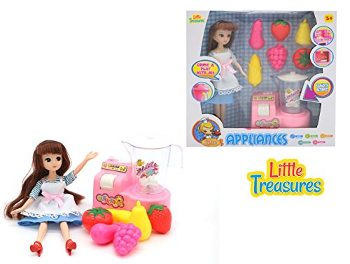 Little Treasures Doll Playset Mini Modern Kitchen Pretend playset with a Fruit Blender and Toy Fruits to Make Healthy Smoothies and Playtime Fun from