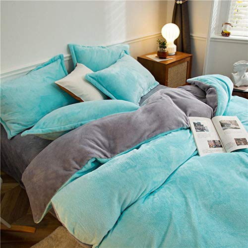 Bedding-LZ blue double duvet covers set-Quilt cover winter warm double-sided student bed sheet dormitory single duvet cover pillowcase D_1.8m sheets (4 pieces)